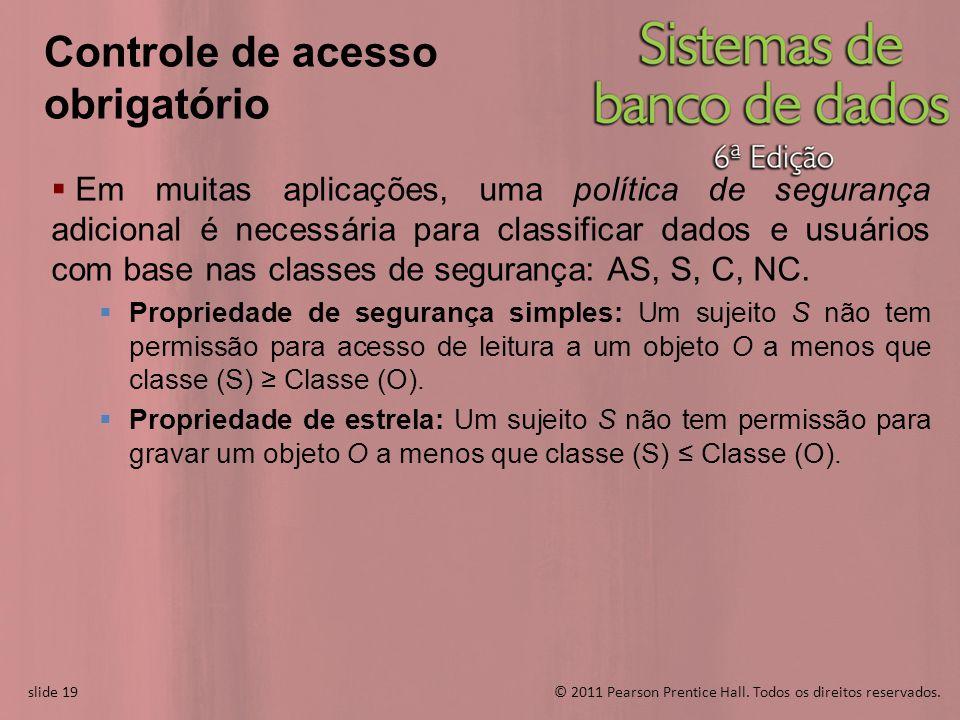 slide 19© 2011 Pearson Prentice Hall. Todos os direitos reservados. slide 19 Em muitas aplicações, uma política de segurança adicional é necessária pa