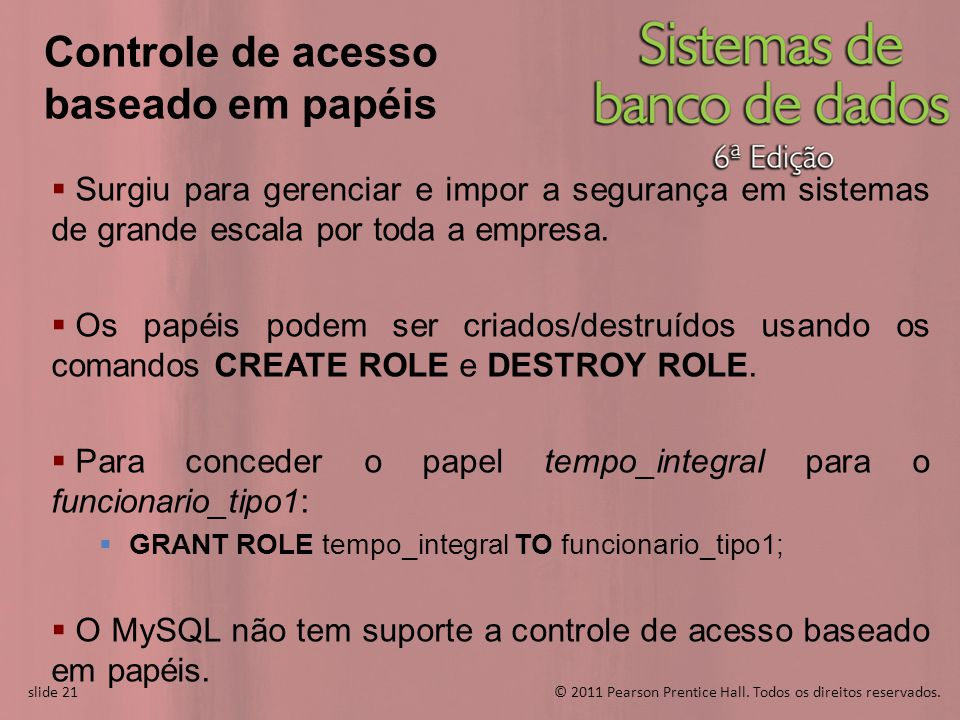 slide 21© 2011 Pearson Prentice Hall. Todos os direitos reservados. slide 21 Controle de acesso baseado em papéis Surgiu para gerenciar e impor a segu