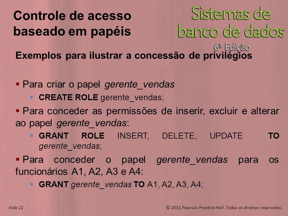 slide 22© 2011 Pearson Prentice Hall. Todos os direitos reservados. slide 22 Controle de acesso baseado em papéis Exemplos para ilustrar a concessão d