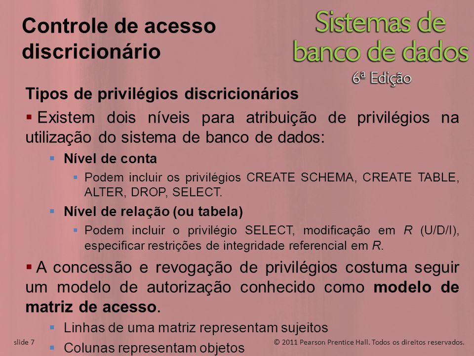 slide 7© 2011 Pearson Prentice Hall. Todos os direitos reservados. slide 7 Controle de acesso discricionário Tipos de privilégios discricionários Exis