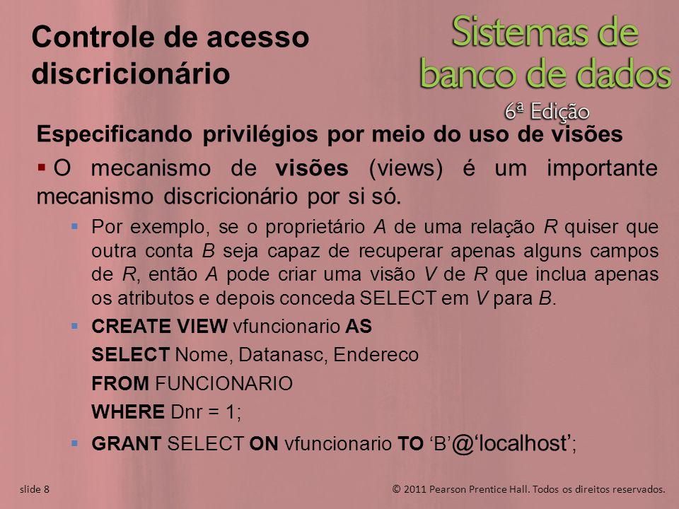 slide 8© 2011 Pearson Prentice Hall. Todos os direitos reservados. slide 8 Controle de acesso discricionário Especificando privilégios por meio do uso