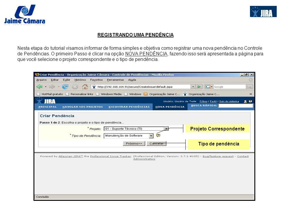 REGISTRANDO UMA PENDÊNCIA Para que você se situe com relação aos projetos existentes, segue uma descrição dos três projetos disponíveis : 00 – Atendimento TI – Goiânia: Projeto relacionado ao Sistema Datasul, Impressoras terceirizadas, outros sistemas, e Suporte técnico.