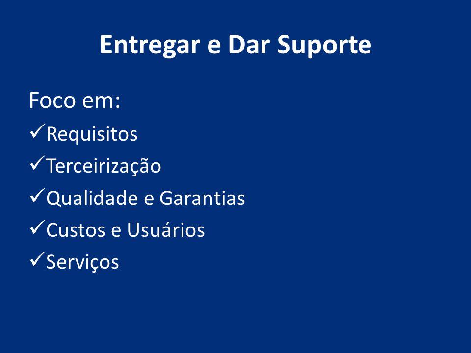 Entregar e Dar Suporte Foco em: Requisitos Terceirização Qualidade e Garantias Custos e Usuários Serviços