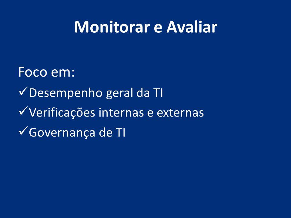 Monitorar e Avaliar Foco em: Desempenho geral da TI Verificações internas e externas Governança de TI