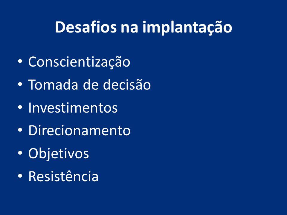 Desafios na implantação Conscientização Tomada de decisão Investimentos Direcionamento Objetivos Resistência