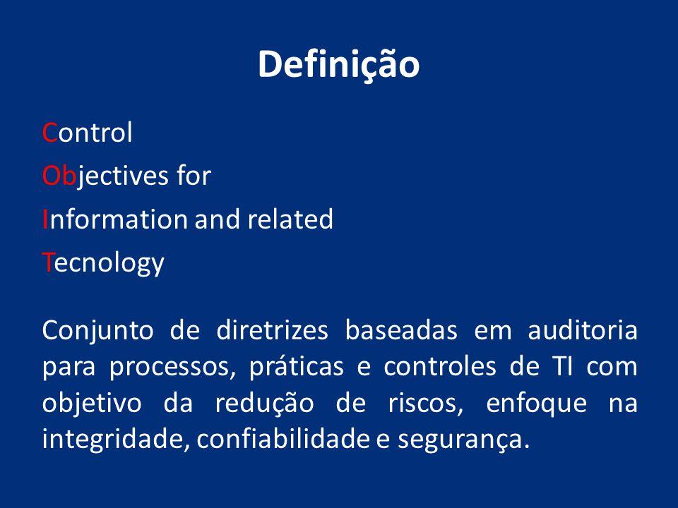Definição Control Objectives for Information and related Tecnology Conjunto de diretrizes baseadas em auditoria para processos, práticas e controles d