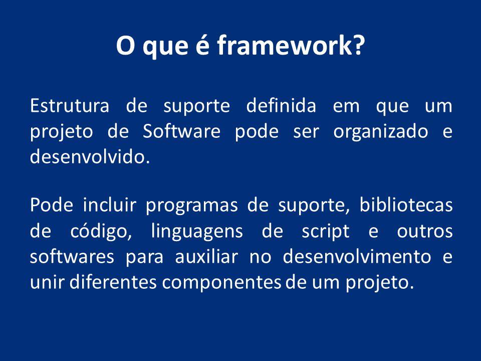 O que é framework? Estrutura de suporte definida em que um projeto de Software pode ser organizado e desenvolvido. Pode incluir programas de suporte,
