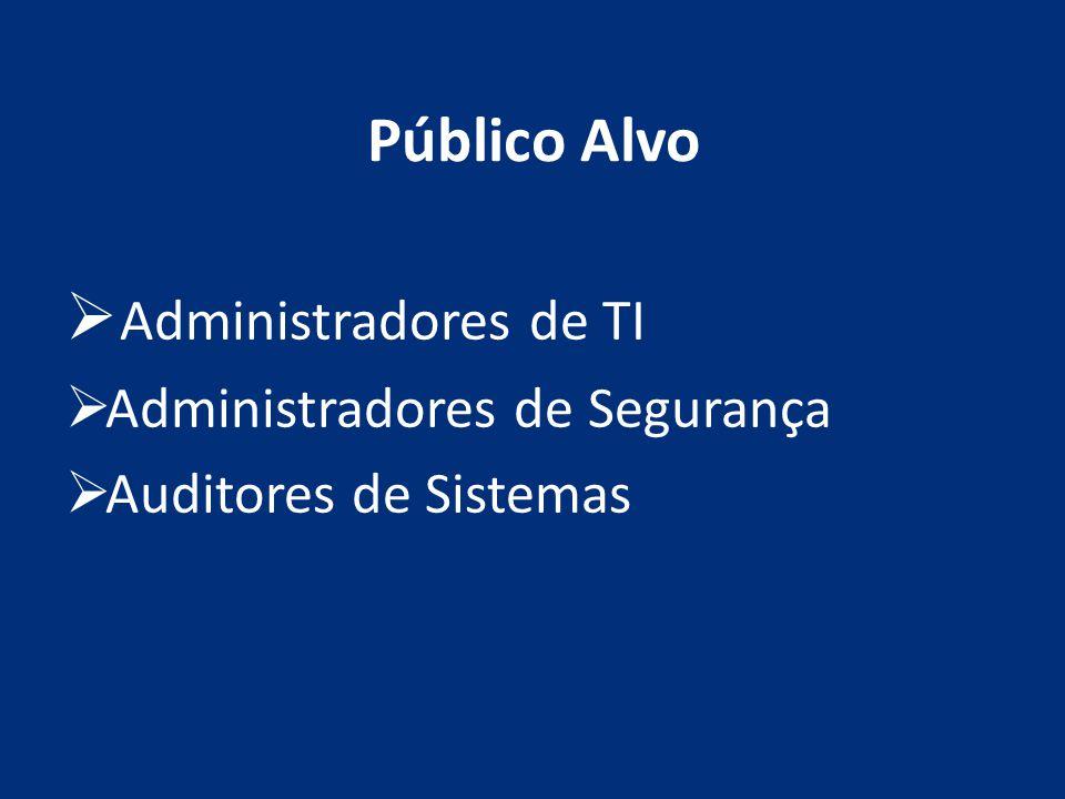 Público Alvo Administradores de TI Administradores de Segurança Auditores de Sistemas