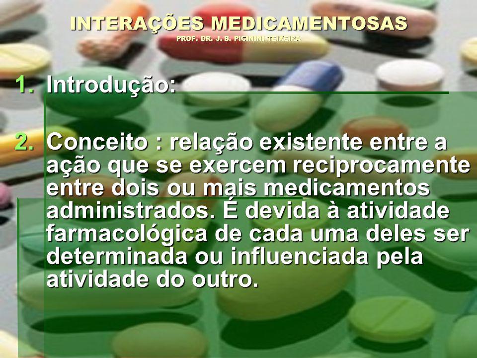 INTERAÇÕES MEDICAMENTOSAS PROF. DR. J. B. PICININI TEIXEIRA 1.I ntrodução: 2.C onceito : relação existente entre a ação que se exercem reciprocamente