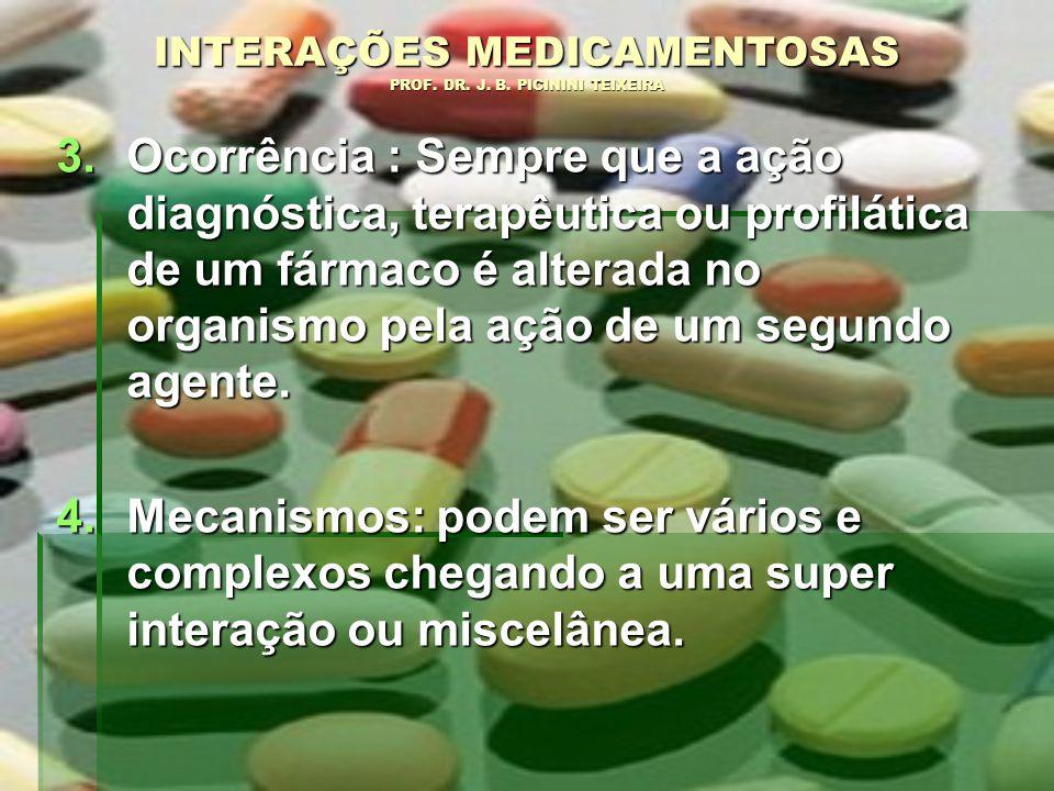 3.Ocorrência : Sempre que a ação diagnóstica, terapêutica ou profilática de um fármaco é alterada no organismo pela ação de um segundo agente. 4.Mecan
