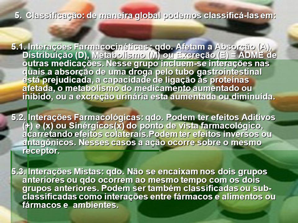 5.Classificação: de maneira global podemos classificá-las em: 5.1. Interações Farmacocinéticas : qdo. Afetam a Absorção (A), Distribuição (D), Metabol