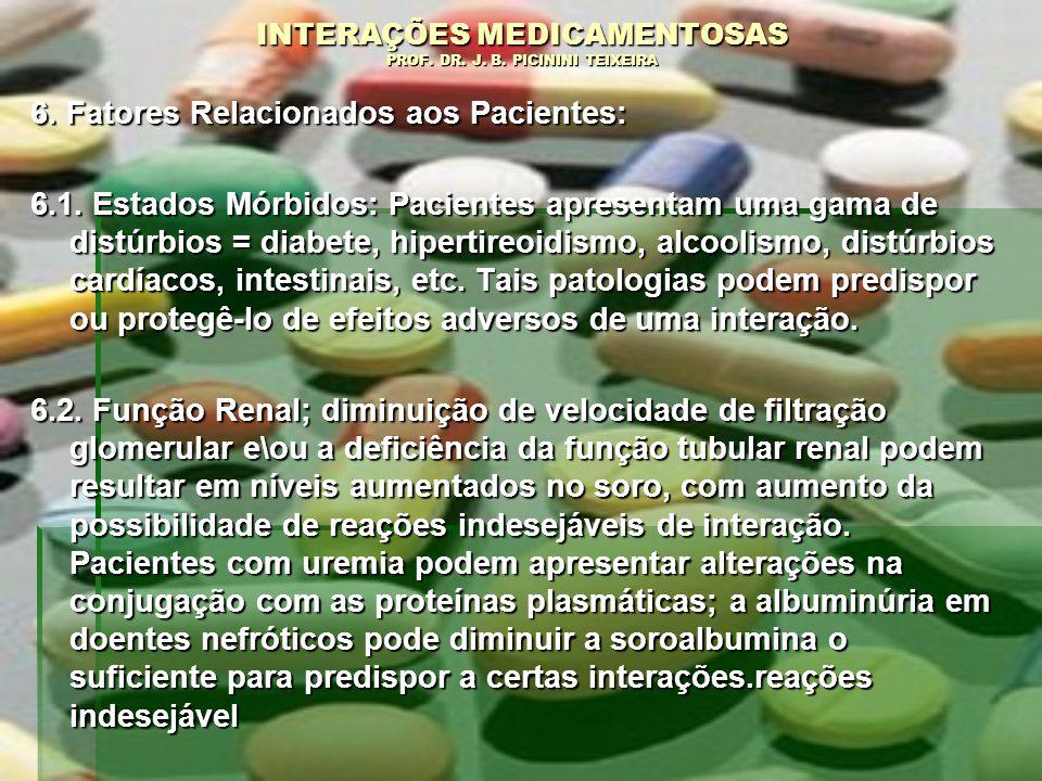 INTERAÇÕES MEDICAMENTOSAS PROF. DR. J. B. PICININI TEIXEIRA 6. Fatores Relacionados aos Pacientes: 6.1. Estados Mórbidos: Pacientes apresentam uma gam