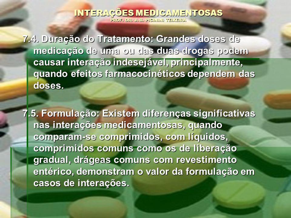 INTERAÇÕES MEDICAMENTOSAS PROF. DR. J. B. PICININI TEIXEIRA 7.4. Duração do Tratamento: Grandes doses de medicação de uma ou das duas drogas podem cau