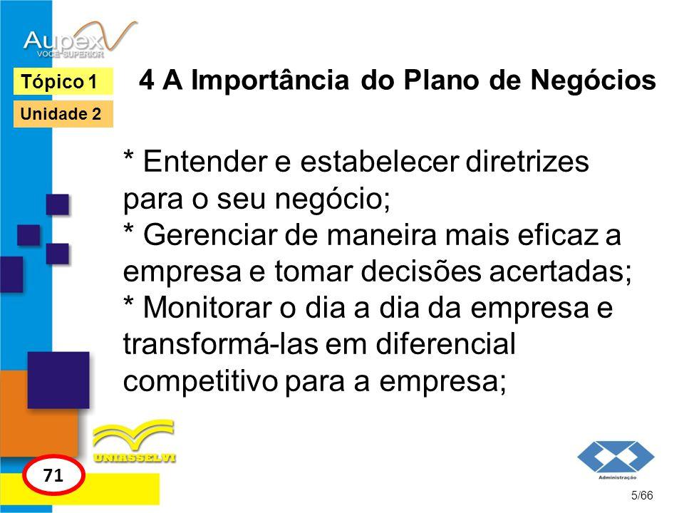 4 A Importância do Plano de Negócios * Entender e estabelecer diretrizes para o seu negócio; * Gerenciar de maneira mais eficaz a empresa e tomar deci