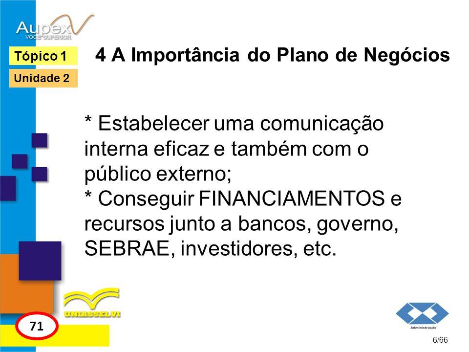 4 A Importância do Plano de Negócios * Estabelecer uma comunicação interna eficaz e também com o público externo; * Conseguir FINANCIAMENTOS e recurso