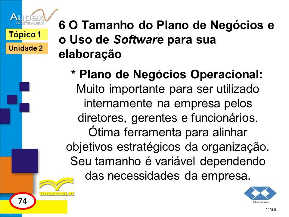 6 O Tamanho do Plano de Negócios e o Uso de Software para sua elaboração * Plano de Negócios Operacional: Muito importante para ser utilizado internam