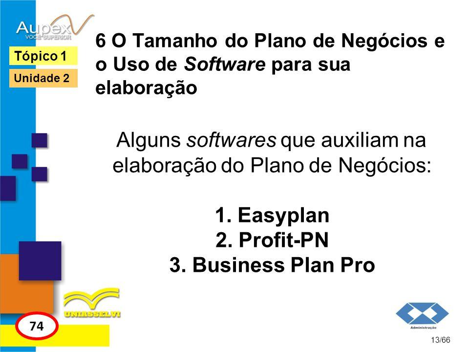 6 O Tamanho do Plano de Negócios e o Uso de Software para sua elaboração Alguns softwares que auxiliam na elaboração do Plano de Negócios: 1. Easyplan