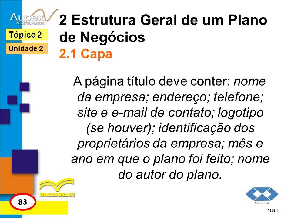 2 Estrutura Geral de um Plano de Negócios 2.1 Capa A página título deve conter: nome da empresa; endereço; telefone; site e e-mail de contato; logotip