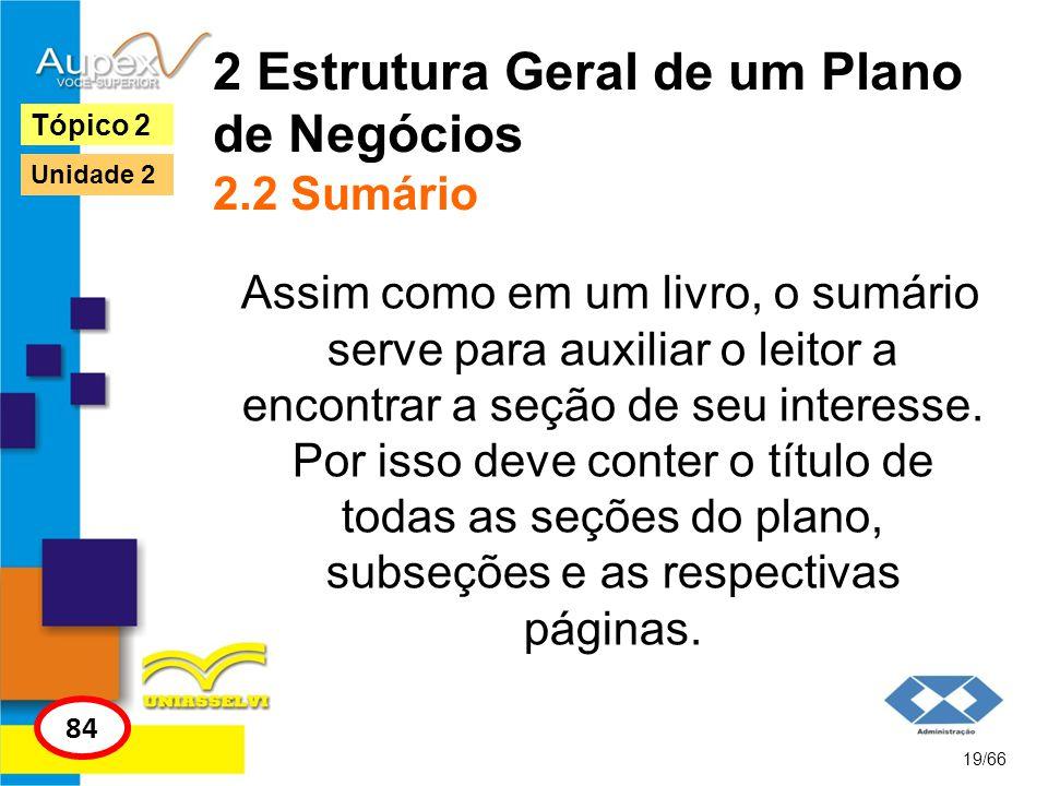 2 Estrutura Geral de um Plano de Negócios 2.2 Sumário Assim como em um livro, o sumário serve para auxiliar o leitor a encontrar a seção de seu intere