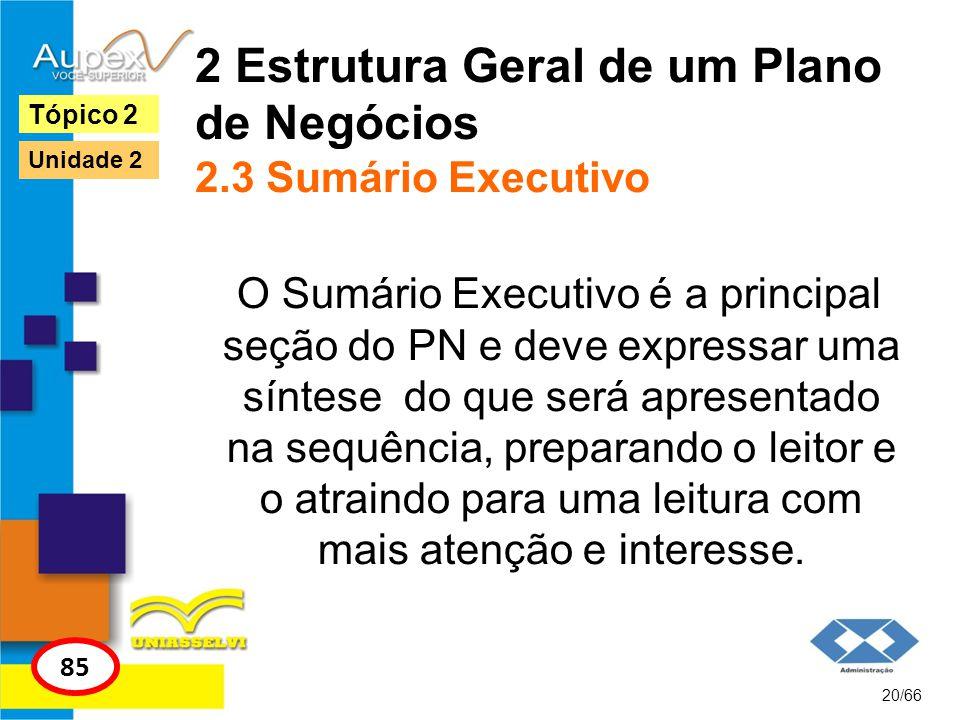 2 Estrutura Geral de um Plano de Negócios 2.3 Sumário Executivo O Sumário Executivo é a principal seção do PN e deve expressar uma síntese do que será