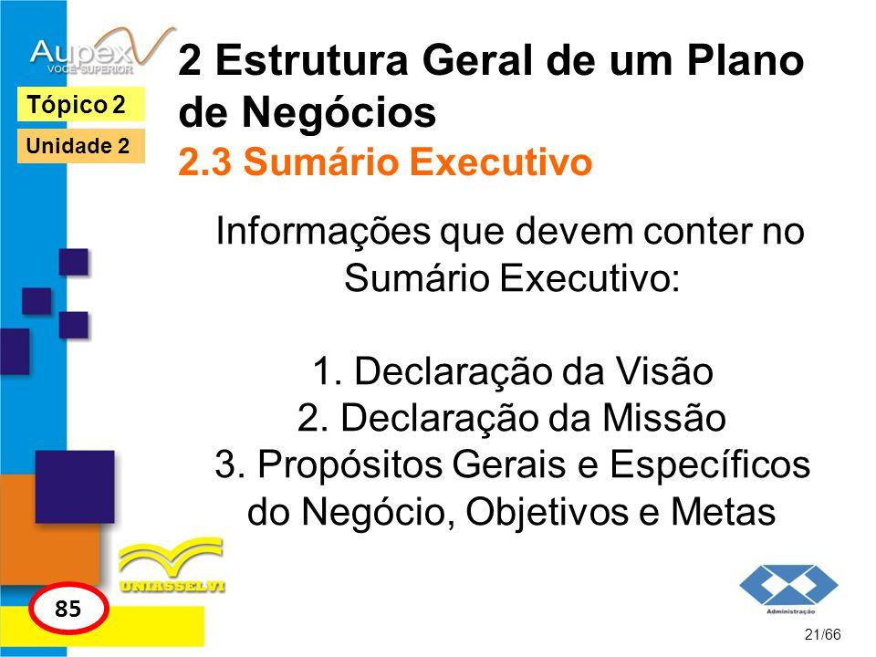2 Estrutura Geral de um Plano de Negócios 2.3 Sumário Executivo Informações que devem conter no Sumário Executivo: 1. Declaração da Visão 2. Declaraçã