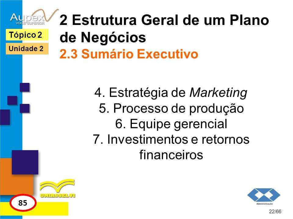 2 Estrutura Geral de um Plano de Negócios 2.3 Sumário Executivo 4. Estratégia de Marketing 5. Processo de produção 6. Equipe gerencial 7. Investimento