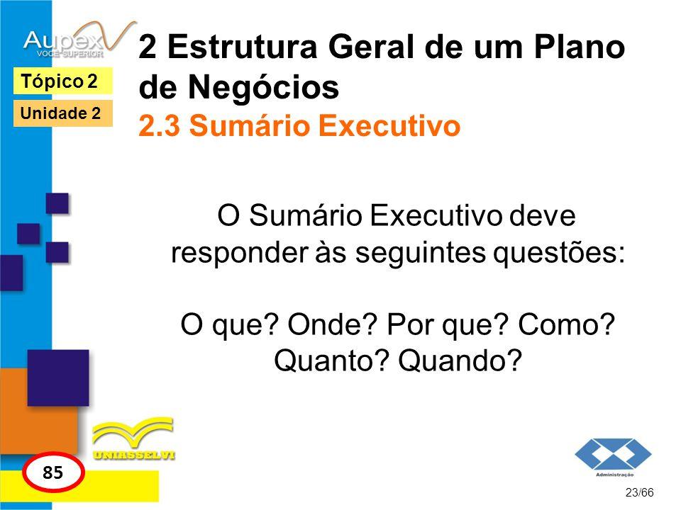 2 Estrutura Geral de um Plano de Negócios 2.3 Sumário Executivo O Sumário Executivo deve responder às seguintes questões: O que? Onde? Por que? Como?