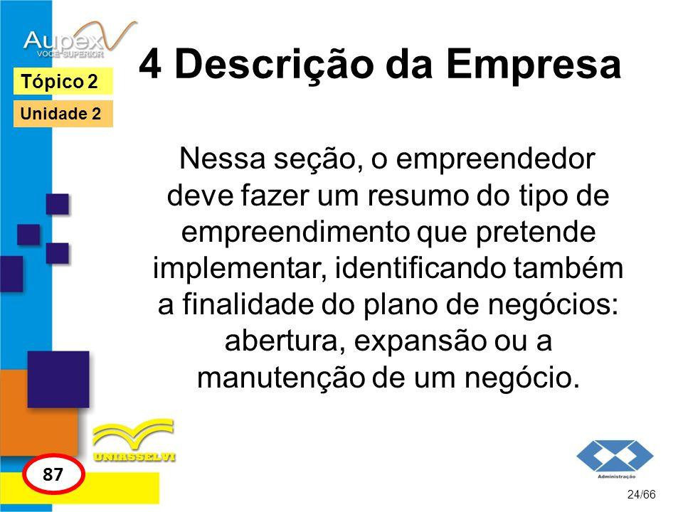 4 Descrição da Empresa Nessa seção, o empreendedor deve fazer um resumo do tipo de empreendimento que pretende implementar, identificando também a fin
