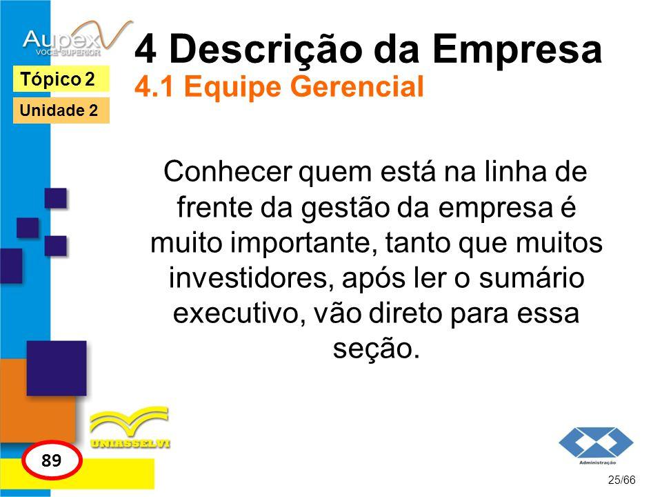 4 Descrição da Empresa 4.1 Equipe Gerencial Conhecer quem está na linha de frente da gestão da empresa é muito importante, tanto que muitos investidor