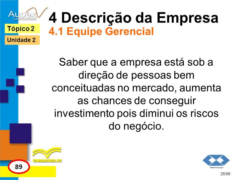 4 Descrição da Empresa 4.1 Equipe Gerencial Saber que a empresa está sob a direção de pessoas bem conceituadas no mercado, aumenta as chances de conse