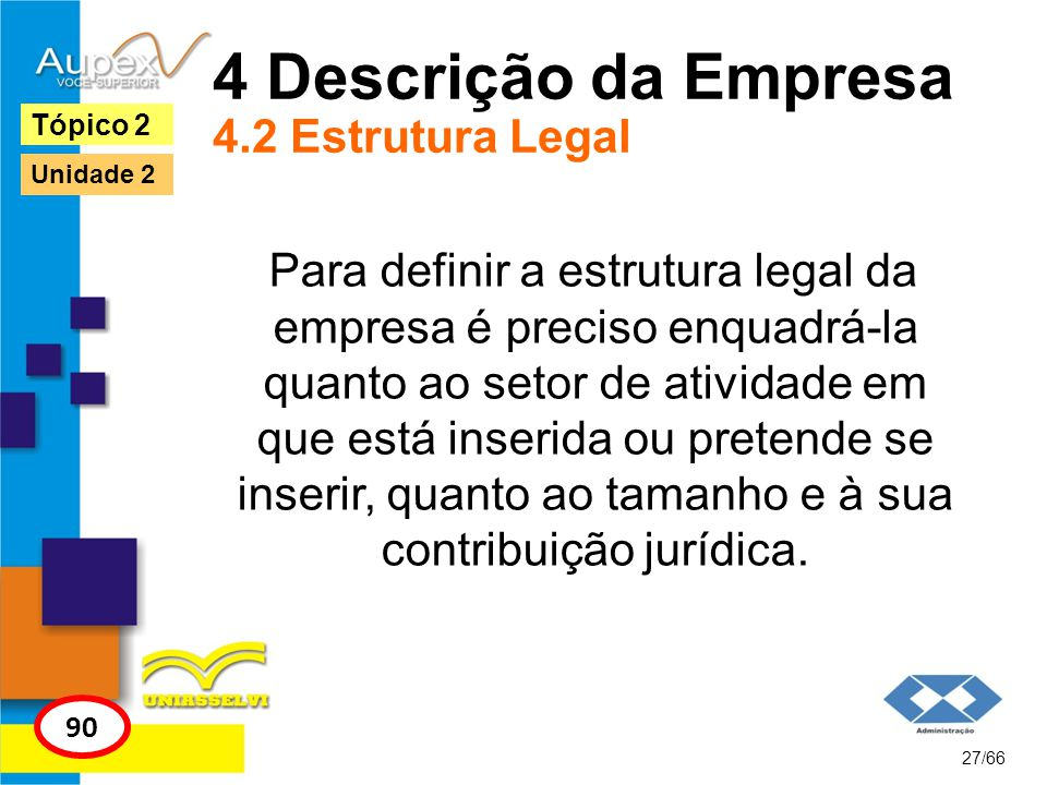 4 Descrição da Empresa 4.2 Estrutura Legal Para definir a estrutura legal da empresa é preciso enquadrá-la quanto ao setor de atividade em que está in