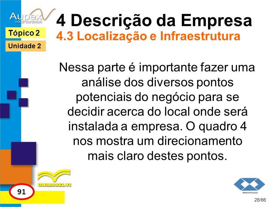 4 Descrição da Empresa 4.3 Localização e Infraestrutura Nessa parte é importante fazer uma análise dos diversos pontos potenciais do negócio para se d