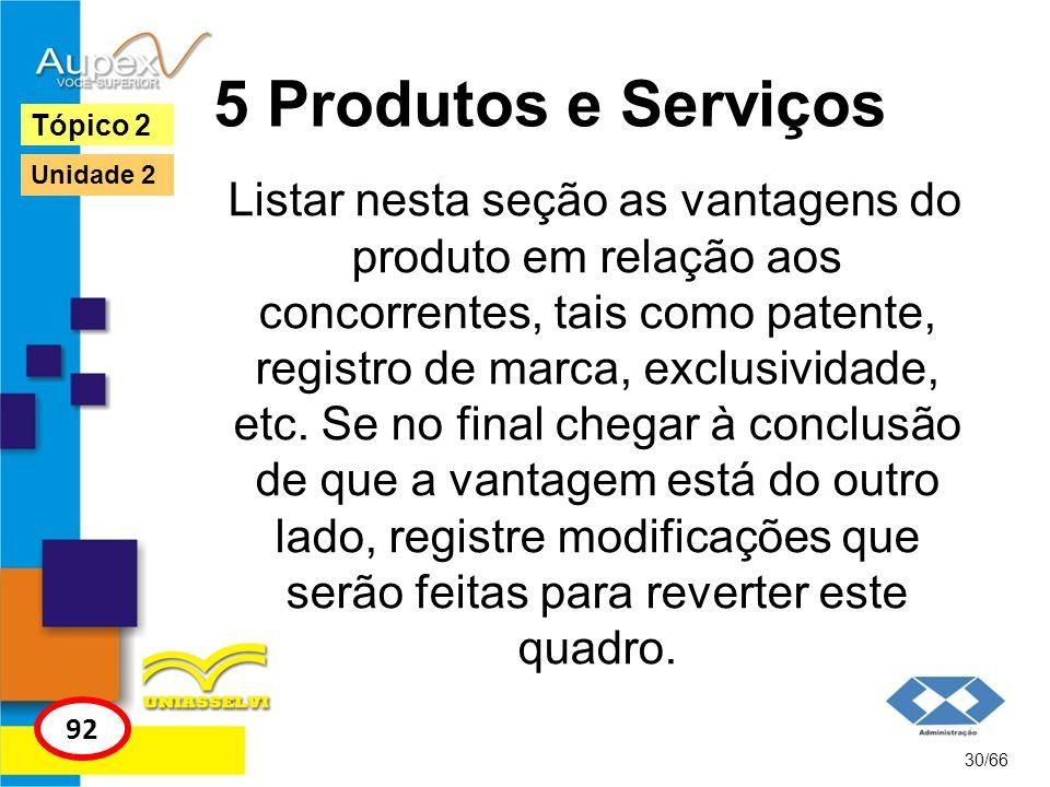5 Produtos e Serviços Listar nesta seção as vantagens do produto em relação aos concorrentes, tais como patente, registro de marca, exclusividade, etc