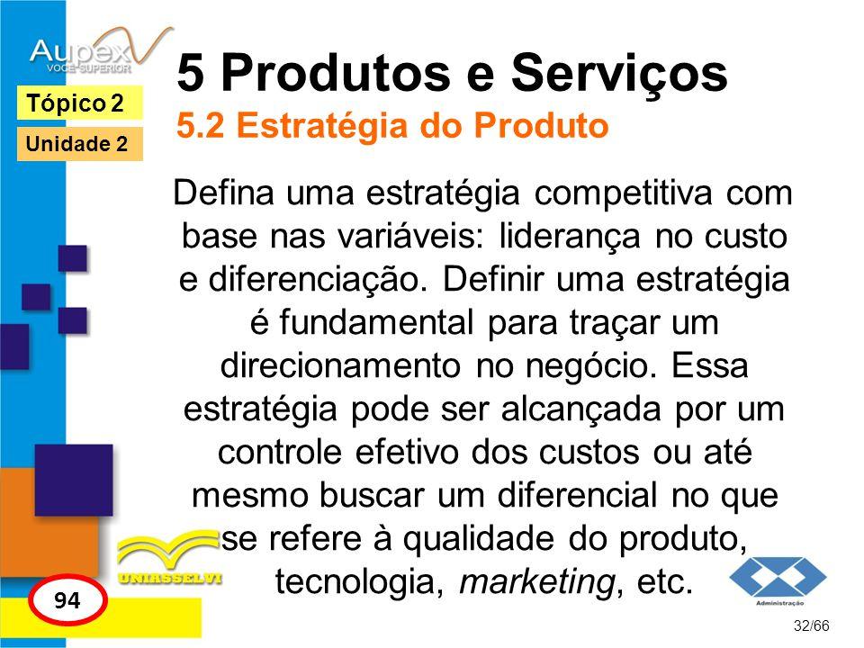 5 Produtos e Serviços 5.2 Estratégia do Produto Defina uma estratégia competitiva com base nas variáveis: liderança no custo e diferenciação. Definir