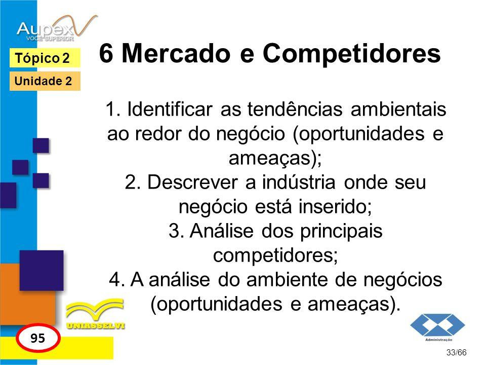 6 Mercado e Competidores 1. Identificar as tendências ambientais ao redor do negócio (oportunidades e ameaças); 2. Descrever a indústria onde seu negó