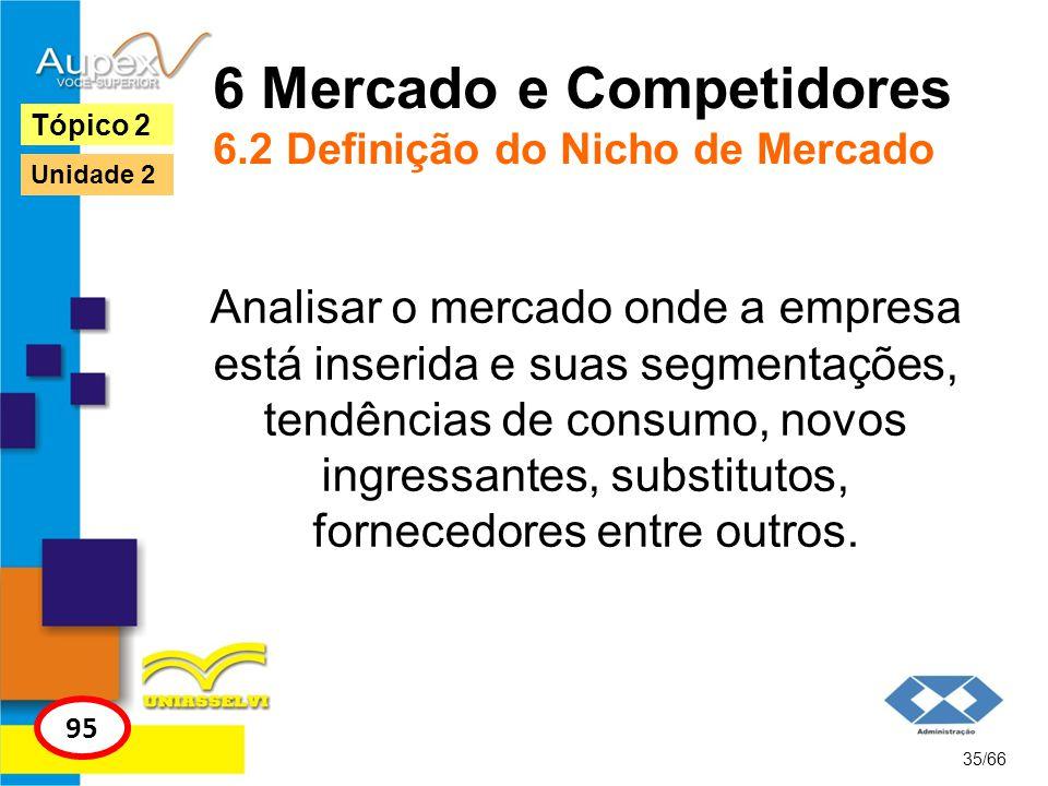 6 Mercado e Competidores 6.2 Definição do Nicho de Mercado Analisar o mercado onde a empresa está inserida e suas segmentações, tendências de consumo,