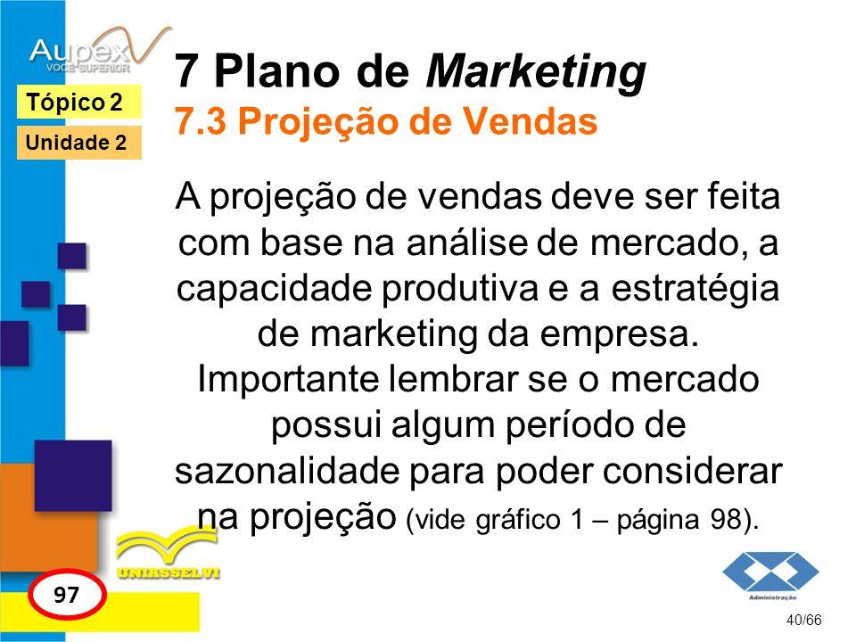 7 Plano de Marketing 7.3 Projeção de Vendas A projeção de vendas deve ser feita com base na análise de mercado, a capacidade produtiva e a estratégia