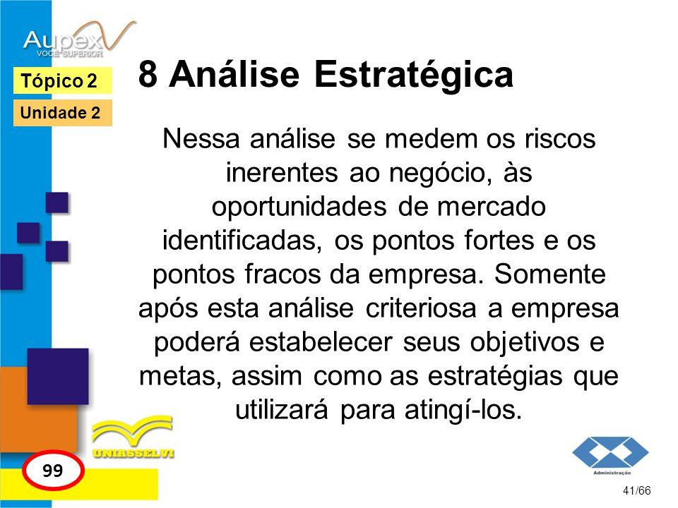 8 Análise Estratégica Nessa análise se medem os riscos inerentes ao negócio, às oportunidades de mercado identificadas, os pontos fortes e os pontos f