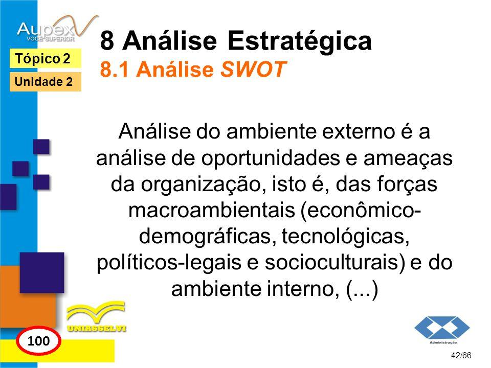 8 Análise Estratégica 8.1 Análise SWOT Análise do ambiente externo é a análise de oportunidades e ameaças da organização, isto é, das forças macroambi