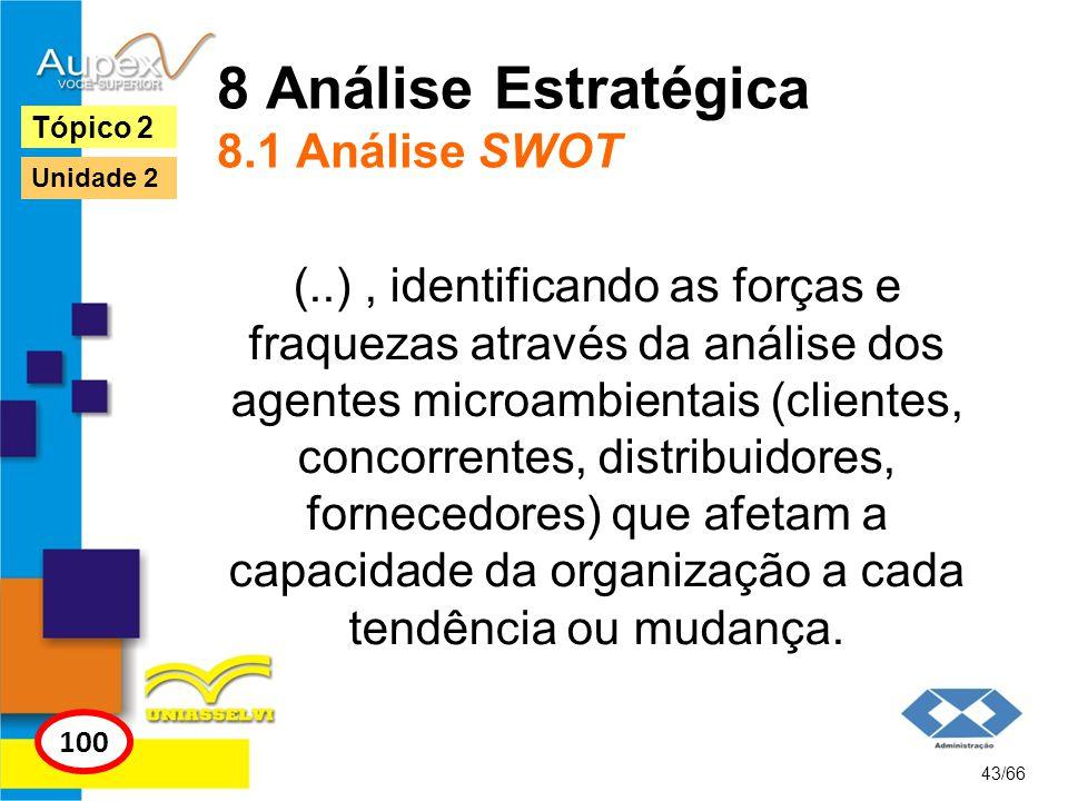 8 Análise Estratégica 8.1 Análise SWOT (..), identificando as forças e fraquezas através da análise dos agentes microambientais (clientes, concorrente