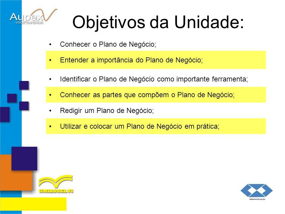 Objetivos da Unidade: Conhecer o Plano de Negócio; Entender a importância do Plano de Negócio; Identificar o Plano de Negócio como importante ferramen