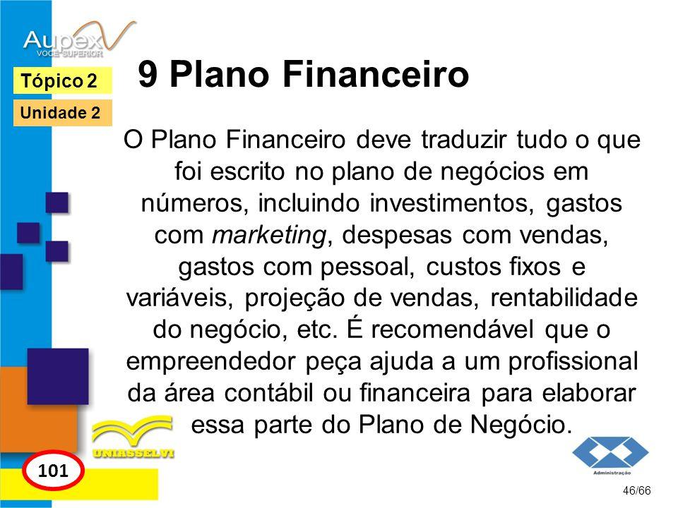 9 Plano Financeiro O Plano Financeiro deve traduzir tudo o que foi escrito no plano de negócios em números, incluindo investimentos, gastos com market