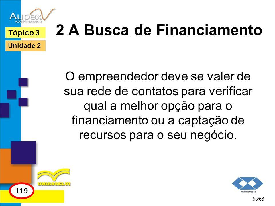 2 A Busca de Financiamento O empreendedor deve se valer de sua rede de contatos para verificar qual a melhor opção para o financiamento ou a captação