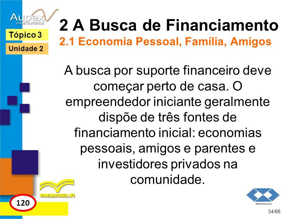 2 A Busca de Financiamento 2.1 Economia Pessoal, Família, Amigos A busca por suporte financeiro deve começar perto de casa. O empreendedor iniciante g