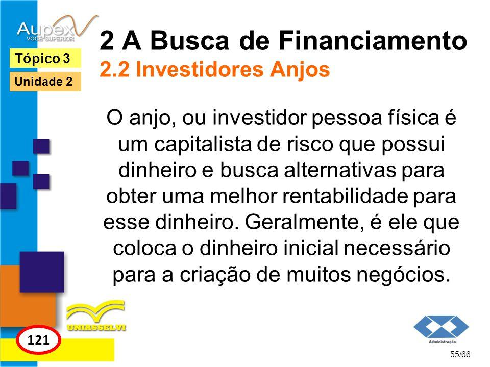 2 A Busca de Financiamento 2.2 Investidores Anjos O anjo, ou investidor pessoa física é um capitalista de risco que possui dinheiro e busca alternativ