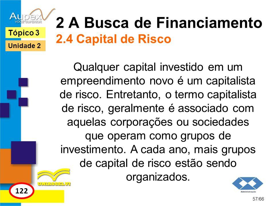 2 A Busca de Financiamento 2.4 Capital de Risco Qualquer capital investido em um empreendimento novo é um capitalista de risco. Entretanto, o termo ca