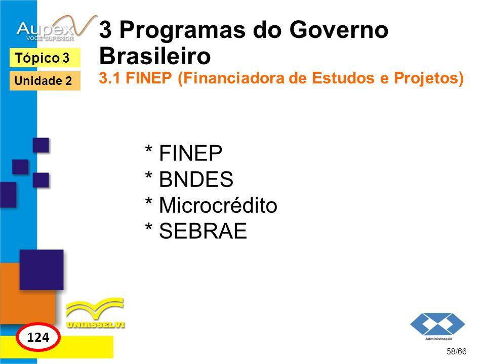 3 Programas do Governo Brasileiro 3.1 FINEP (Financiadora de Estudos e Projetos) * FINEP * BNDES * Microcrédito * SEBRAE 58/66 Tópico 3 124 Unidade 2