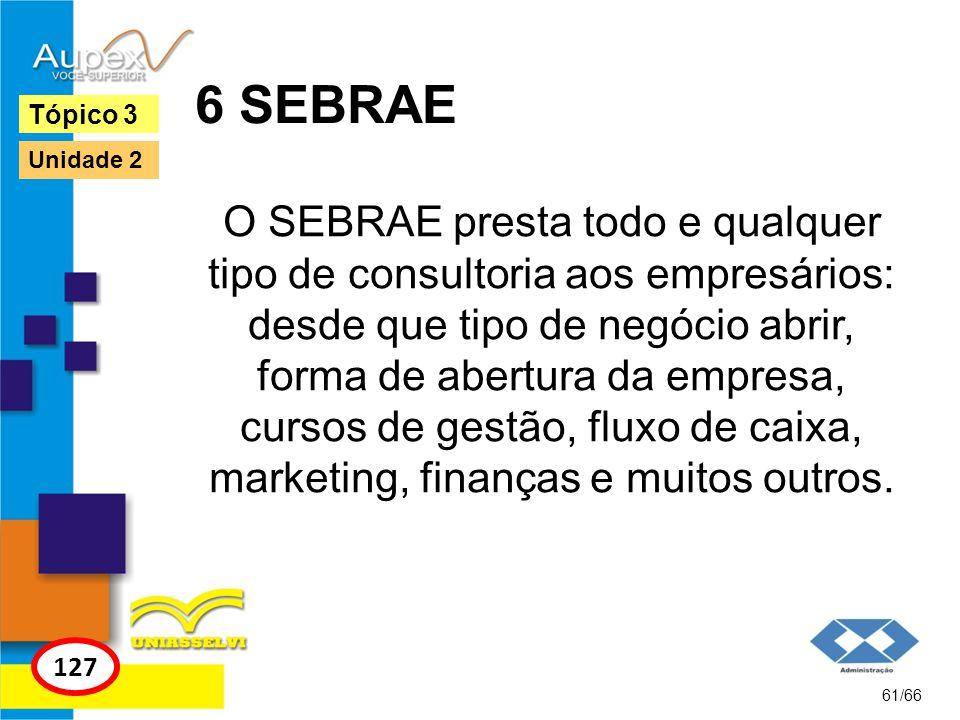 6 SEBRAE O SEBRAE presta todo e qualquer tipo de consultoria aos empresários: desde que tipo de negócio abrir, forma de abertura da empresa, cursos de