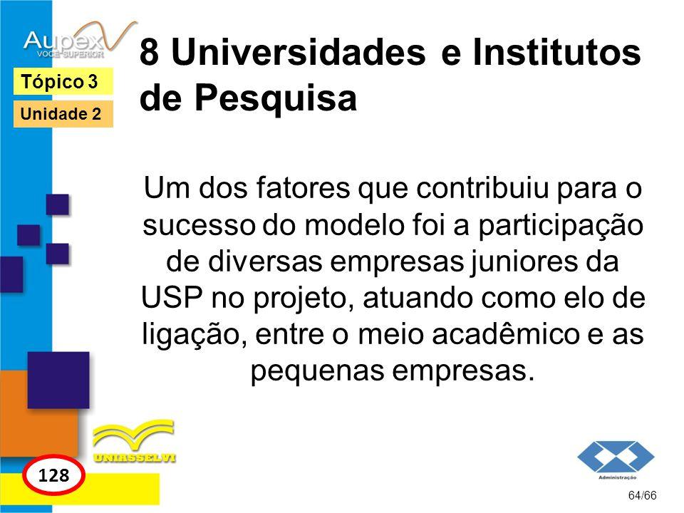 8 Universidades e Institutos de Pesquisa Um dos fatores que contribuiu para o sucesso do modelo foi a participação de diversas empresas juniores da US