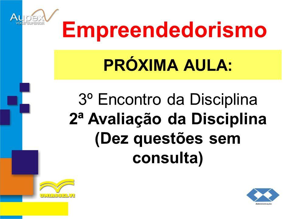 PRÓXIMA AULA: Empreendedorismo 3º Encontro da Disciplina 2ª Avaliação da Disciplina (Dez questões sem consulta)